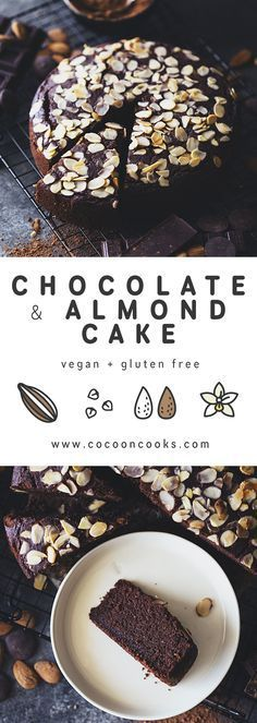 Chocolate and Almond Cake. 100% plant-based naturally sweetened and gluten free.