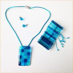 Glass jewelry • 3-piece blue set