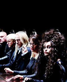 Draco, Lucius and Narcissa Malfoy, and Bellatrix Lestrange Harry Potter Cast, Harry Potter Love, Harry Potter Characters, Harry Potter World, Slytherin Aesthetic, Harry Potter Aesthetic, Belatrix Lestrange, Jason Isaacs, No Muggles