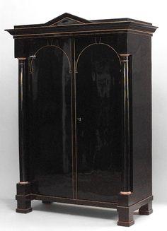 Biedermeier German  Austrian cabinet/case-piece armoire ebonized