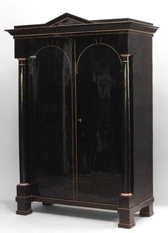 Biedermeier German  Austrian cabinet/case-piece armoire ebonized