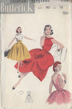 1950s Vintage Sewing Pattern B30 DRESS & BOLERO (R844) Butterick 7714