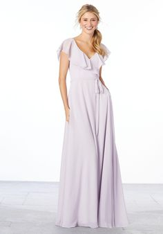 Morilee Bridesmaids 21657 Elegant A-line chiffon bridesmaid dress with a surplice flutter sleeve, v-neck and v-back with matching tie sash. Shown in Wisteria. View C Girls Pageant Dresses, Prom Dresses Blue, Junior Dresses, Bordeaux, Mori Lee Bridesmaid Dresses, Wedding Bridesmaids, Wedding Dress, Vestidos Junior, Chiffon