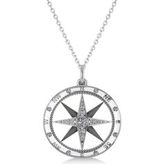 Allurez Compass Necklace Pendant Diamond Accented 14k White Gold... ($685) ❤ liked on Polyvore featuring jewelry, necklaces, white, 14k white gold necklace, clear crystal necklace, white gold necklace, pendants & necklaces and 14k necklace