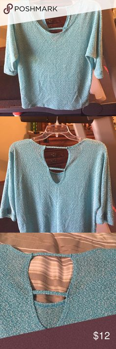 Turquoise 3/4length sleeves top Lightweight sheer turquoise top! Unique detail on back . 3/4 length sleeves Maurices Tops Blouses