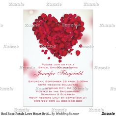 Red Rose Petals Love Heart Bridal Shower