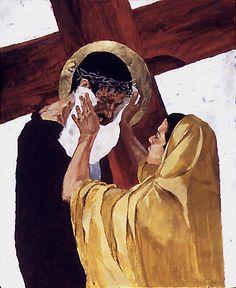 "VI - Veronica limpa o rosto de Jesus. XIV - Jesus é sepultado. Ben Denison, ""The Stations of the Cross"" for St. Isaac Jogues - a Catholic Church in Niles, Illinois"