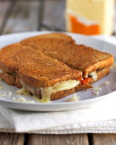 fontina, cheddar & gruyere grilled cheese with roasted vegetables {pinchofyum.com}