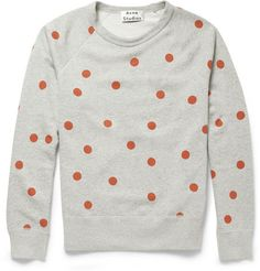 Acne Studios College Dot Printed Cotton-Jersey Sweatshirt | MR PORTER