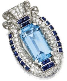 Aquamarine, sapphire and diamond brooch, Cartier, Circa 1935.