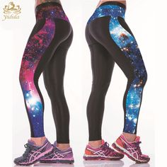 3D Space printed Elastic Waist Running Tight Trendy YOGA LEGGINGS Pants Women red blue 2 colors Free shipping #Affiliate
