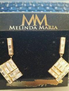 NEW Fashion Jewelry 14kt Melinda Maria Crystal Earrings Pyramid Olivia NWT Gold - http://elegant.designerjewelrygalleria.com/oliva/new-fashion-jewelry-14kt-melinda-maria-crystal-earrings-pyramid-olivia-nwt-gold/