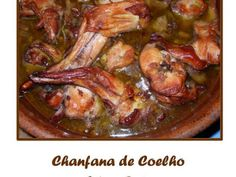 Receita Prato Principal : Chanfana de coelho de Jú1984 Wine Recipes, Cooking Recipes, Portuguese Recipes, Portuguese Food, Beef Steak, Food And Drink, Chicken, Dinner, Eat