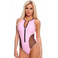 This one piece leatherette swimsuit features a zipped up front, contrast mesh side, racer back and open lower back. Imported.