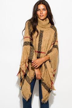 Cute cheap camel beige giant checker plaid fuzzy boho knit poncho sweater jacket tunic top
