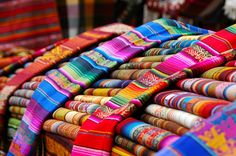 Otavalo, Ecuador is known for its saturday market where the indigenous people sell many of their handwoven products