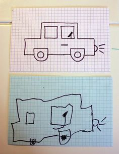 Grid index cards...kids copy drawing.  Good for occupying at church, etc.