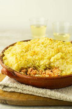 Parmentier de saumon Celerie Rave, Cornbread, Risotto, Fish, Dinner, Vegetables, Cooking, Ethnic Recipes, Seas