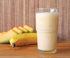 Rock-nana Smoothie. A delicious treat of rock melon and banana smoothie with added maple syrup.