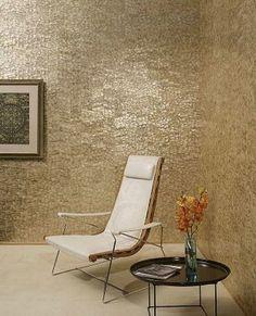 Maya Romanoff's Mother of Pearl hand crafted wall tiles in Chevron #mayaromanoff