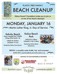 MLK Day of Service Beach Cleanup 2017 - http://fullofevents.com/hawaii/event/mlk-day-of-service-beach-cleanup-2017/
