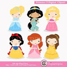 Princess 3 Digital Clipart / Cute Princess Clip Art / Fairytale Princess Digital Clipart For Personal and Commercial Use / INSTANT DOWNLOAD on Etsy, $5.00