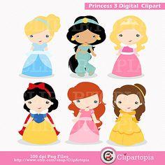 Princess 3 Digital Clipart / Cute Princess Clip Art / Fairytale Princess Digital…