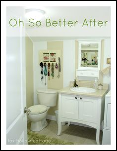 Before and After a Bathroom Story - Fox Hollow Cottage Laundry Room Bathroom, Budget Bathroom, Small Bathroom, Bathroom Ideas, Bathrooms, Laundry Rooms, Bathroom Before After, Diy On A Budget, Bedroom Wall