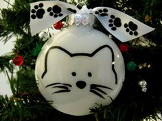 Cat Face PURRsonalized Christmas Ornament in Red by PurrfectCats
