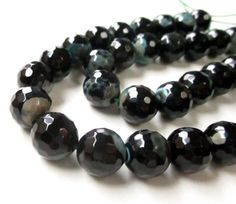 Agate Beads  Green Black Round Agate Beads  Faceted by BijiBijoux
