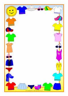 Summer clothes A4 page borders (SB4815) - SparkleBox