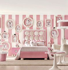 Insanely Girly Girl Bedroom With Dogs White Pink Stripes Wall Cool Room Designs - not for me but love the softness of the colours