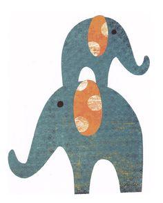 Modern elephant nursery print by addilyneli