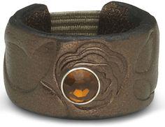 Bronze Floral Leaf - Leather Ring