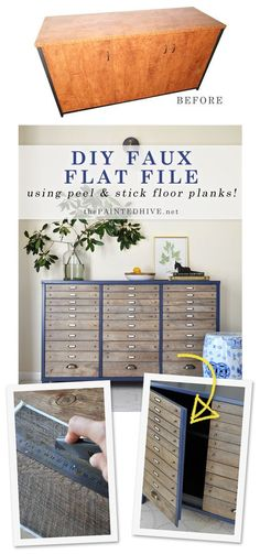Amazing furniture hack using peel and stick flooring to look like lots of little drawers!