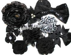 Grab Bag of Black Bows/Flowers