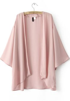 Pink Puff Sleeve Loose Chiffon Blouse pictures