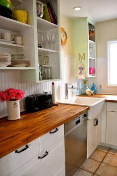 Beach Bungalow Kitchen! Love the countertops and backsplash!