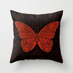 Red Butterfly Throw Pillow by Ornaart - $20.00