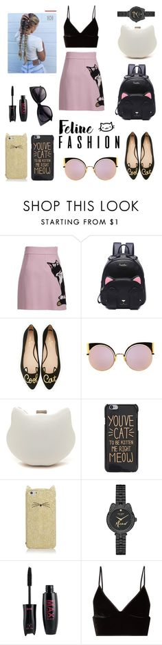 """""""Cat crazy"""" by ameliawagnon ❤ liked on Polyvore featuring MSGM, Kate Spade, Fendi and T By Alexander Wang"""