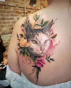 Cat and Flowers tattoo by Adria Cier
