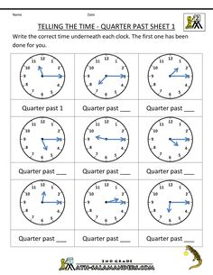 Looking for a Free Printable Math Worksheets For Telling Time. We have Free Printable Math Worksheets For Telling Time and the other about Benderos Printable Math it free. Clock Worksheets, Free Printable Math Worksheets, 2nd Grade Math Worksheets, Kid Printables, Summer Worksheets, Christmas Worksheets, School Worksheets, Telling Time In Spanish, Math Clock