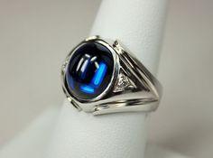 Vintage Art Deco Era Streamlined Mens Mans Ring 14K White Gold 7.7CT Blue Spinel 2 Diamond Accents Sz 8 c1930s