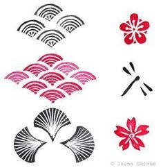 Stamp with japanese pattern waves cherry flowers dragonfly black red - embroidery Sashiko Embroidery, Fox Embroidery, Japanese Embroidery, Japan Illustration, Japanese Patterns, Japanese Prints, Hokusai, Art Asiatique, Creative Textiles