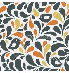 Pattern with birds vector by Gizel on VectorStock®