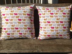 Pair of Cushion Covers in Sheep Fabric Stof 123 by SourPussDesigns