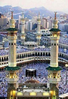 Masjid al-Haram, Mezquita en La Meca, Arabia Saudita  Mecca Arabia Saudí.. El Masjid al-Haram, es la mezquita más importante de la ciudad de La Meca y el primer lugar santo del islam.  Altura:89m