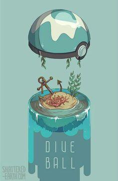 Dive Ball, text; Pokémon