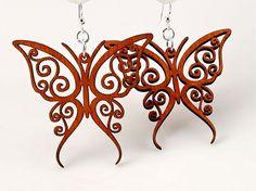 Fancy Butterfly  Wood Earrings by GreenTreeJewelry on Etsy, $12.95