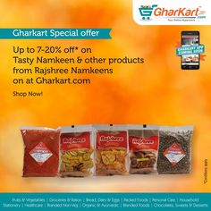 Discount sale!  Shop tasty namkeen's & other products from Rajshree. Shop for groceries, fruits & vegetables online now! A wide range brands now available at Gharkart. To know more about offers Visit: Gharkart.com Today! #Gharkart #Groceries #Onlineshopping #packedfood